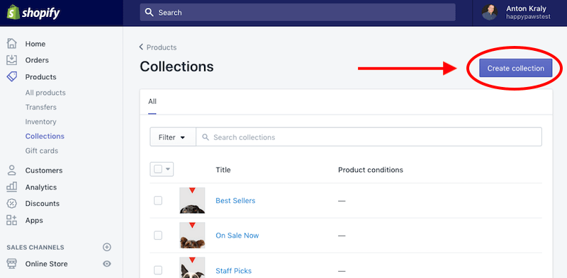 shopify product collections