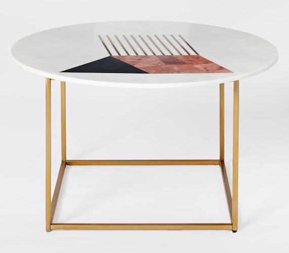 wood tables marble inlay