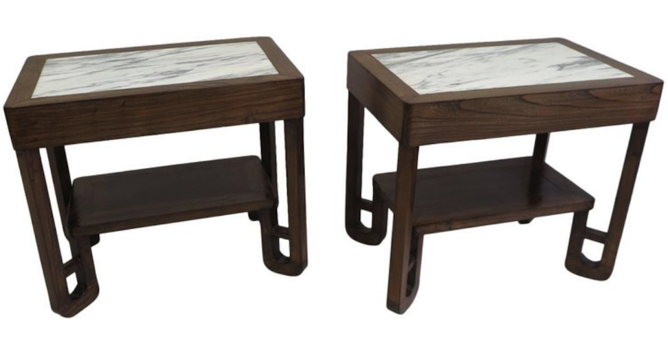 wood tables with marble
