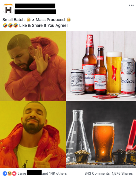 drake meme beer