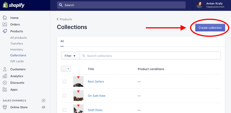 collections for shopify