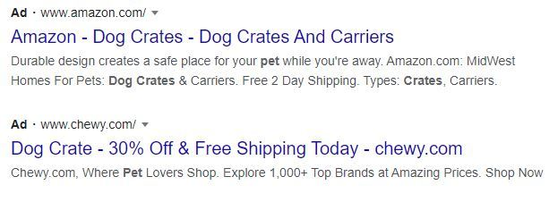 dog crate paid search result