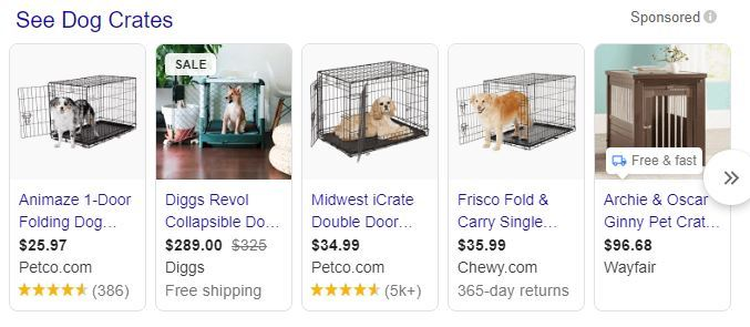 pay-per-click advertising dog crates shopping ads