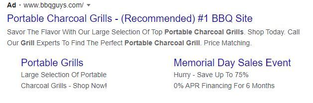 pay-per-click advertising for portable charcoal grills